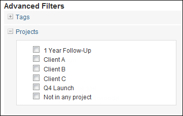 BuzzStream project filtering